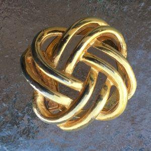 Lieba U.S.A. Gold Tone Knot scarf clip fur clip